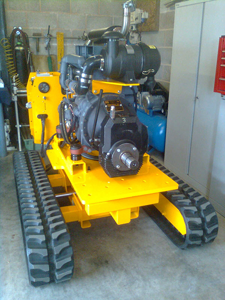 tracked Stump Grinding machine with grinding arm removed